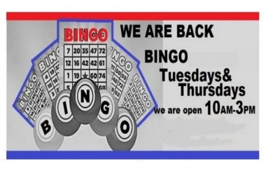 Bingo every Tuesday/Thursday